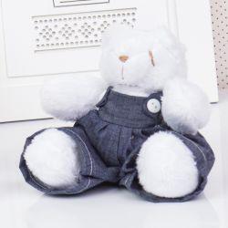 Urso Mini Jardineiro Branco 13cm