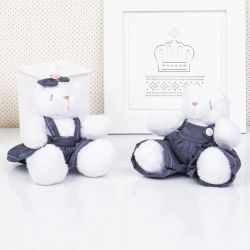 Irmãos Ursos Jardineiros Branco 13cm