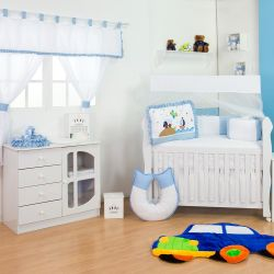 Quarto de Bebê sem Cama Babá Transportes Azul Bebê