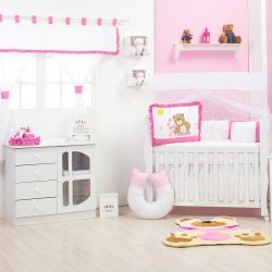Quarto de Bebê sem Cama Babá Ursa Flor Pink