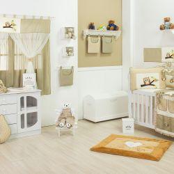 Quarto para Bebê sem Cama Babá Corujinha Cáqui