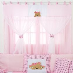 Cortina Família Urso Rosa 1,30m