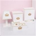 Kit Higiene Realeza Dourada com Pérolas e Strass