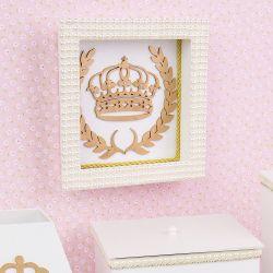 Quadro Nicho Decorado Realeza Dourada com Pérolas e Strass