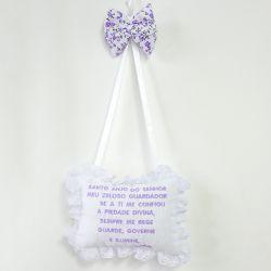 Porta Maternidade Oração Santo Anjo Borboleta Lilás
