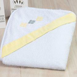 Toalha de Banho Chevron Amarelo e Cinza