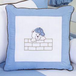 Almofada Bordada Família Urso Azul