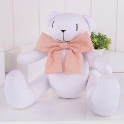 Ursa Branca com Maxi Laço Rosé 40cm