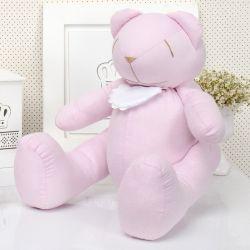 Urso Chambrê Rosa com Babador 34cm