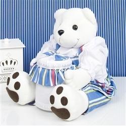 Ursinho Porta Cotonete Teddy Listrado