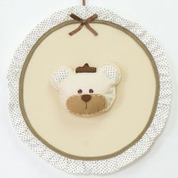 Porta Maternidade Urso Realeza Bege