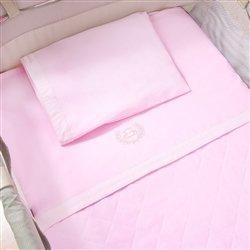 Jogo de Lençol para Berço Desmontável Realeza Rosa 1,30m x 80cm