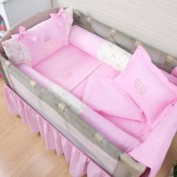 Kit Berço Completo Desmontável Realeza Rosa 1,30m x 80cm