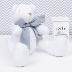 Urso Branco Gravata Chumbo 34cm