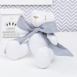Urso Branco com Laço Cinza Escuro 25cm