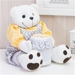 Ursinho Porta Cotonete Teddy Chevron Amarelo