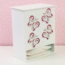 Porta Fraldas Butterfly Rosa