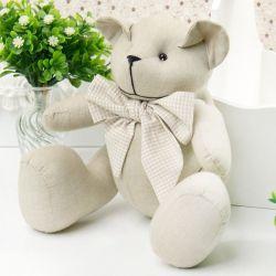 Urso Chambrê Bege Gravata Xadrez 25cm