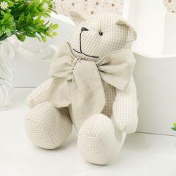 Urso Chambrê Bege Xadrez 18cm