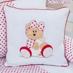 Almofada Bordada Ursa Baby Vermelha