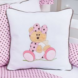 Almofada Bordada Ursa Baby Rosa