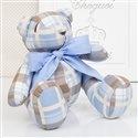 Urso Xadrez Azul e Marrom P