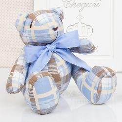 Urso Xadrez Azul e Marrom 25cm