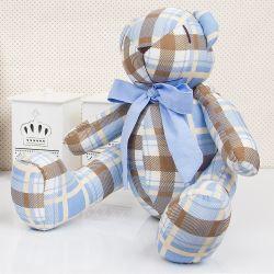Urso Xadrez Azul e Marrom 34cm