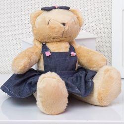 Ursa Jardineira Lacinho 34cm