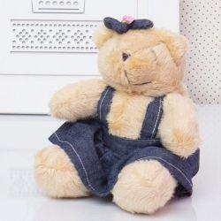 Ursa Mini Jardineira Lacinho 13cm