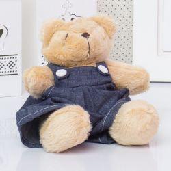 Urso Mini Jardineiro Bege 13cm
