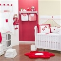 Quarto para Bebê sem Cama Babá Borboletas Vermelha