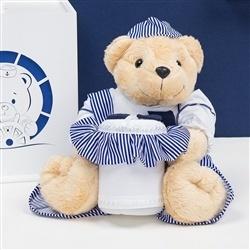 Urso Porta Cotonete Marinheiro Listrado