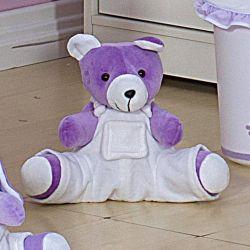 Urso com Macacão Branco Sapeca 33cm