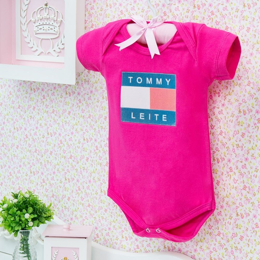 Body Manga Curta Tommy Leite Pink