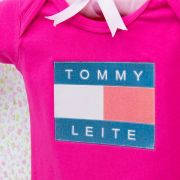 Body Manga Curta Tommy Leite Pink 3 a 6 Meses
