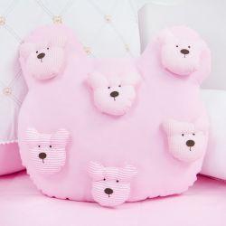 Almofada Urso Teddy Rosa 40cm