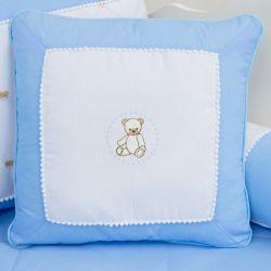 Almofada Bordada Teddy Azul 45cm