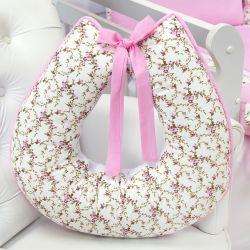 Almofada Amamentação Passarinhos Floral Rosa