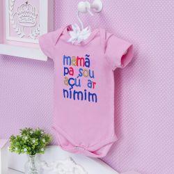 Body Manga Curta Mamãe Passou Açúcar Nimim Rosa