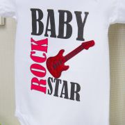 Body Manga Curta Baby Rock Star Branco 9 a 12 meses