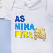 Body Manga Curta As Mina Pira Branco 3 a 6 Meses