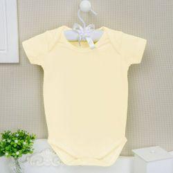 Body Manga Curta Basic Liso Amarelo