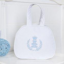 Bolsa Maternidade Realeza Azul e Branco 25cm