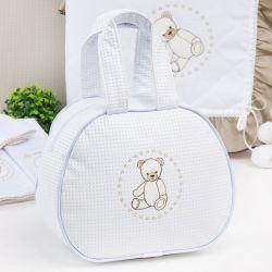 Bolsa Maternidade Teddy Branco e Cáqui 25cm