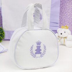 Bolsa Maternidade Realeza Branco e Lilás 25cm