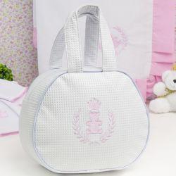 Bolsa Maternidade Realeza Branco e Rosa 25cm