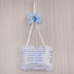 Porta Maternidade Oração Santo Anjo Veleiro Azul Claro