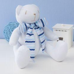 Urso Gravata Chevron Azul Sianinha 34cm