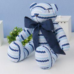 Urso Chevron Azul com Gravata Marinho 25cm